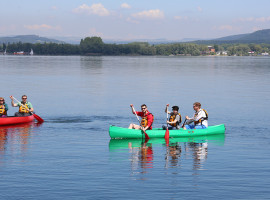 Kanutour auf dem Rhein in Wangen, Raum Konstanz